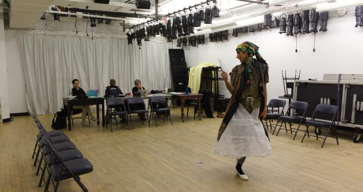 Creator Wayne Babineaux in rehearsal for Coincoin: Queen of Louisiana.